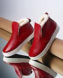 Женские зимние красные ботинки лаковые на низком ходу Ankle slip, фото 2