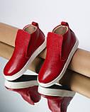 Женские зимние красные ботинки лаковые на низком ходу Ankle slip, фото 4
