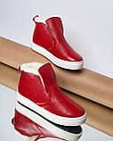Женские зимние красные ботинки лаковые на низком ходу Ankle slip, фото 8