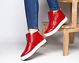 Женские зимние красные ботинки лаковые на низком ходу Ankle slip, фото 9