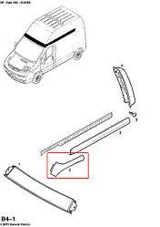 Молдинг лівий передній (верхній, високий дах) на Opel Vivaro 2001-> — Opel (оригінал) - 4412061