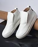 Белые зимние ботинки лаковые на низком ходу Ankle slip, фото 9