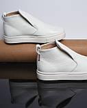 Белые зимние ботинки лаковые на низком ходу Ankle slip, фото 8