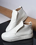 Белые зимние ботинки лаковые на низком ходу Ankle slip, фото 7