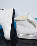 Белые зимние ботинки лаковые на низком ходу Ankle slip, фото 5