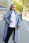 Стеганное демісезонне пальто з плащової тканини синього кольору, фото 4