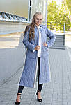 Стеганное демісезонне пальто з плащової тканини синього кольору, фото 2
