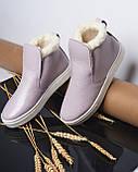 Женские лаковые высокие слипоны хайтопы Ankle slip лаванда, фото 2