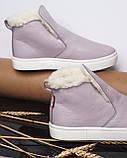Женские лаковые высокие слипоны хайтопы Ankle slip лаванда, фото 5