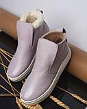 Женские лаковые высокие слипоны хайтопы Ankle slip лаванда, фото 3