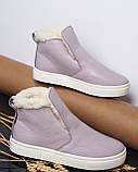 Женские лаковые высокие слипоны хайтопы Ankle slip лаванда, фото 6