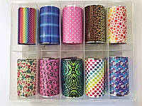 Новинка!Набор фольги для маникюра узоры весенние,10 штук в упаковке