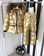 Комбинезон пуховый золотой для девочки, фото 1