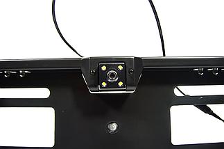 Универсальная автомобильная камера заднего вида рамка 16LED Silver с подсветкой номера, фото 3