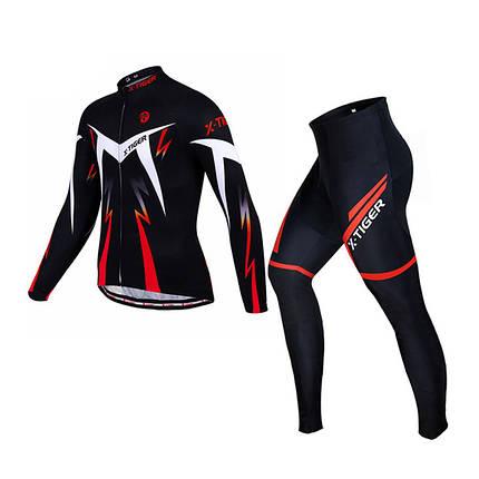 Велокостюм X-Тiger XM-CT-01302 Trousers Red S кофта с длинным рукавом штаны, фото 2
