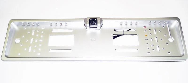 Универсальная автомобильная камера заднего вида рамка 16LED Silver с подсветкой номера, фото 2