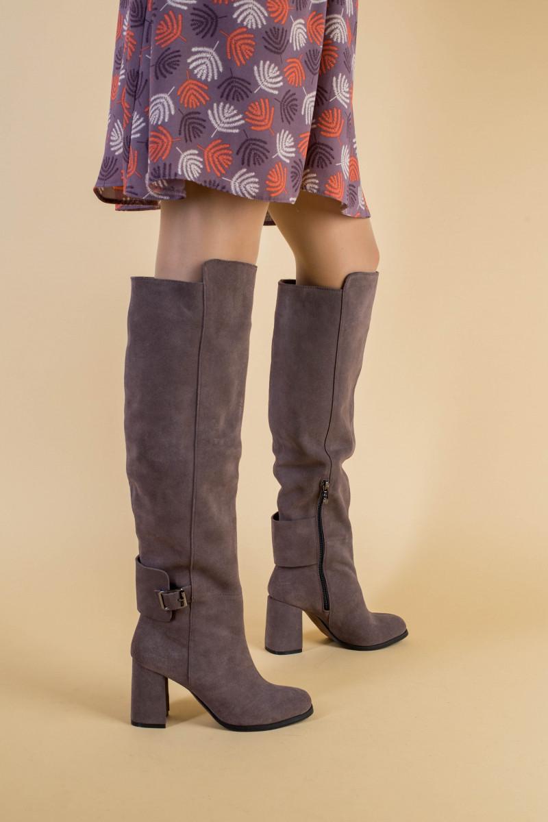 Зимние замшевые сапоги на каблуке, цвет какао