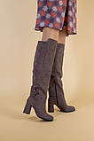 Зимние замшевые сапоги на каблуке, цвет какао, фото 5
