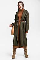 Женский трикотажный вязаный кардиган / пальто прямой с карманами и поясом хакки