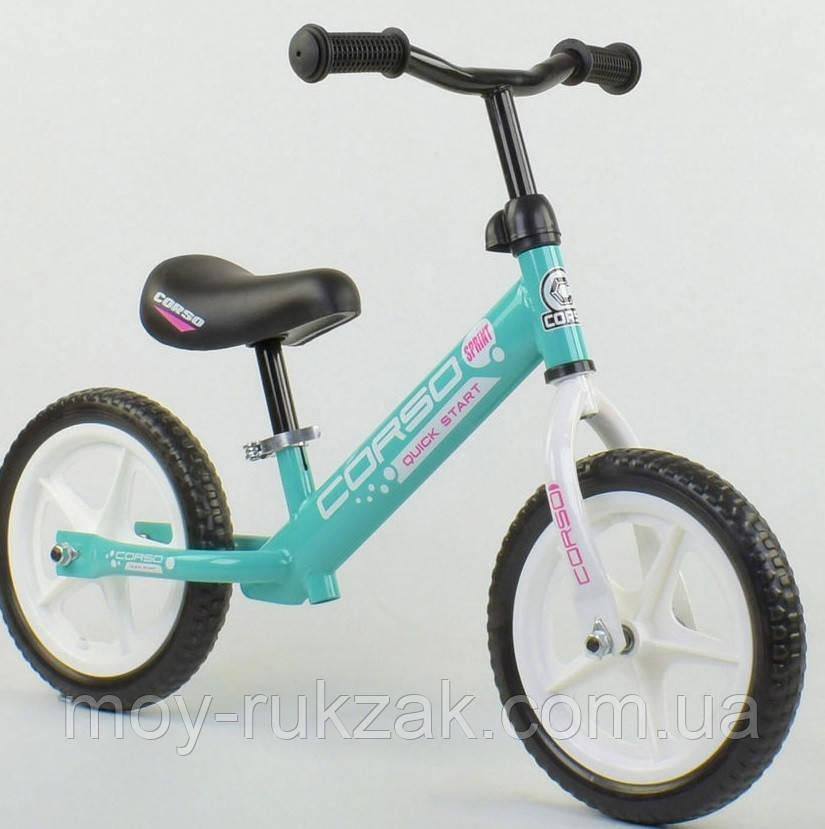 """Велобег детский """"CORSO"""",колеса EVA 12 дюймов, 17008, голубой"""