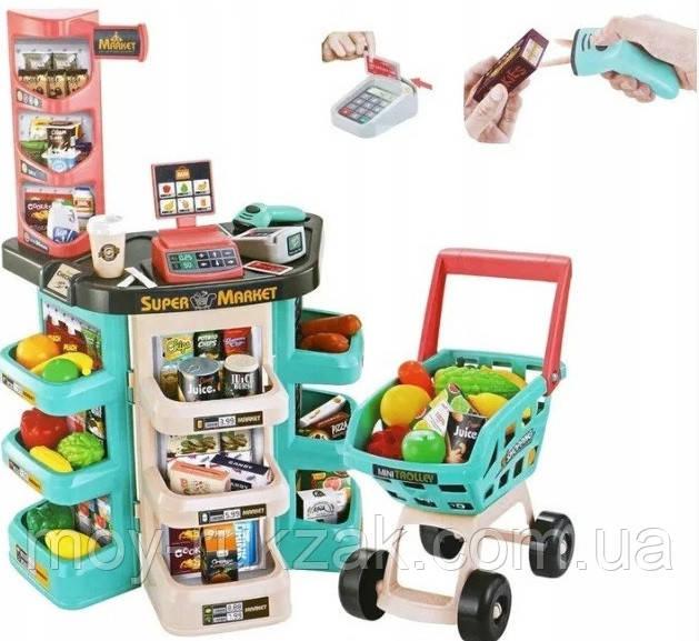 Детский игровой супермаркет, касса, тележка, звуковые эффекты, 47 предметов, 668-76