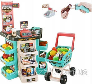 Детский игровой супермаркет, касса, тележка, звуковые эффекты, 47 предметов, 668-76, фото 2