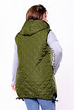 Женская жилетка с капюшоном плащевка стеганная синтепон 100 размер:48-50,52-54,56-58,60-62, фото 2