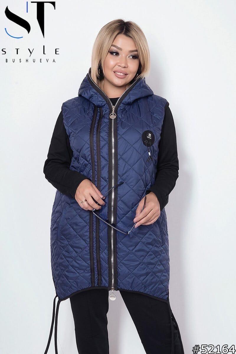 Женская жилетка с капюшоном плащевка стеганная синтепон 100 размер:48-50,52-54,56-58,60-62