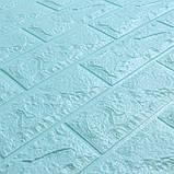 Декоративная 3D панель стеновая самоклеющаяся под кирпич БИРЮЗОВЫЙ 700х770х7мм, фото 3