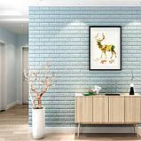 Декоративная 3D панель стеновая самоклеющаяся под кирпич БИРЮЗОВЫЙ 700х770х7мм, фото 4