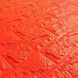 Декоративная 3D панель самоклейка под кирпич Оранжевый (в упаковке 10 шт) 700х770х5мм Os-BG07-5, фото 2