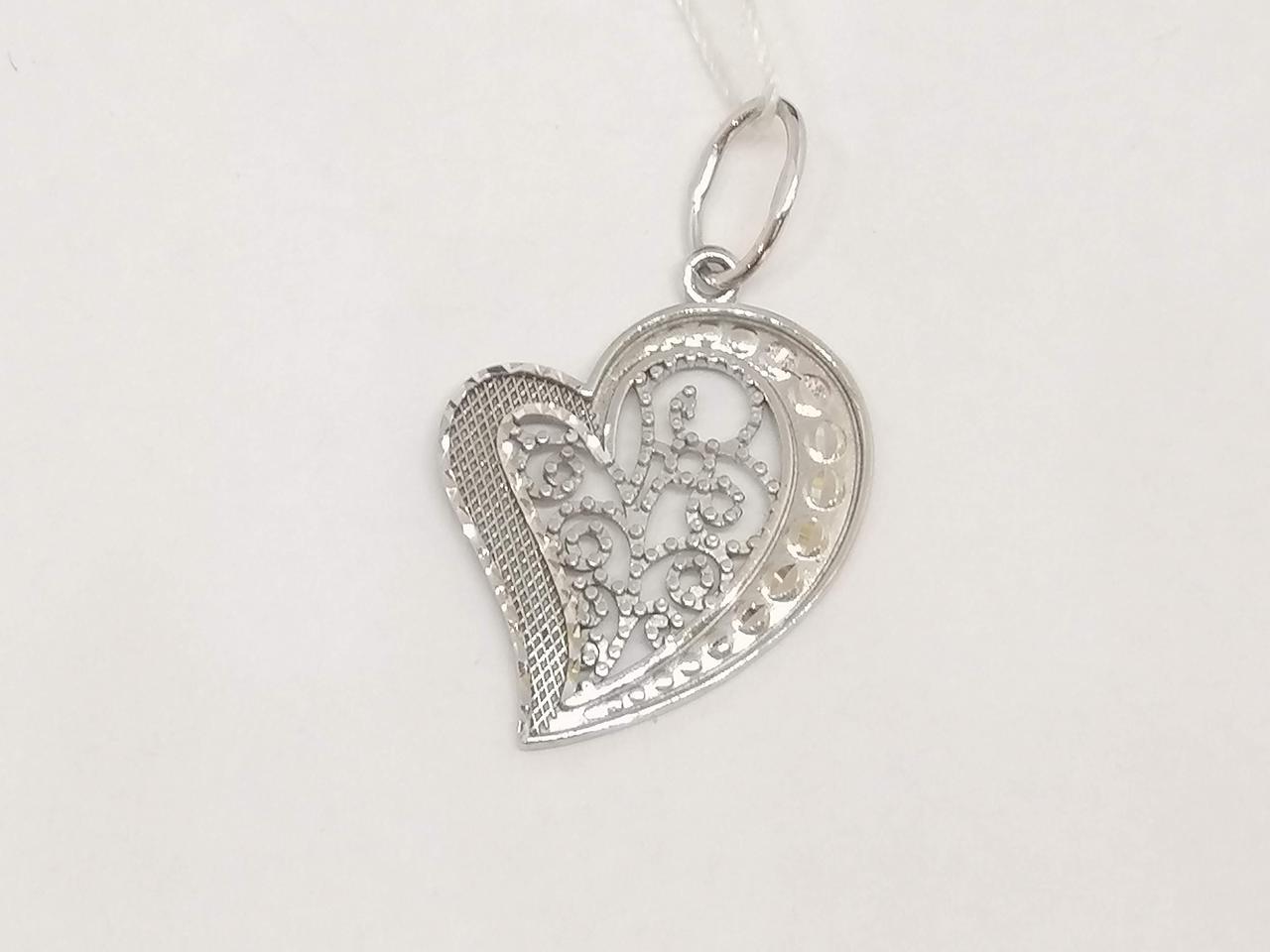 Золотая подвеска Сердце с алмазной гранью. Артикул 422387Б