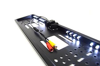 Универсальная автомобильная камера заднего вида рамка 4LED Silver с подсветкой номера, фото 3