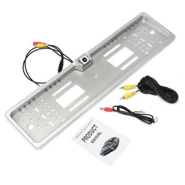 Универсальная автомобильная камера заднего вида рамка 4LED Silver с подсветкой номера