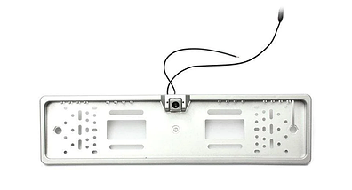 Универсальная автомобильная камера заднего вида рамка 4LED Silver с подсветкой номера, фото 2
