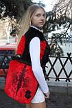 Мод 108. Сумка женская из стриженого меха кролика_цвет алый, фото 2