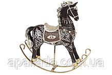 Декоративная статуэтка Лошадка-качалка, цвет - черный, 24см