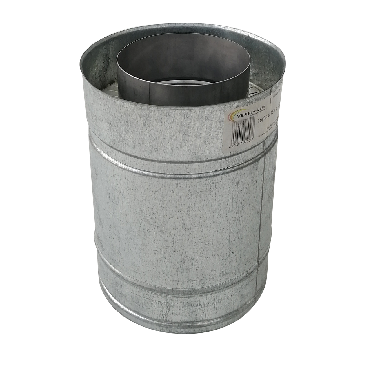 Труба дымоходная сэндвич d 180 мм; 0,5 мм; AISI 304; 25 см; нержавейка/оцинковка - «Версия Люкс»