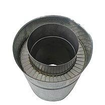 Труба дымоходная сэндвич d 180 мм; 0,5 мм; AISI 304; 25 см; нержавейка/оцинковка - «Версия Люкс», фото 2