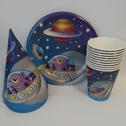 Набор детской праздничной одноразовой посуды Космос 10 тарелок ,10 стаканчиков ,10 колпачков