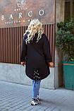 Женский стильный кардиган пальто с капюшоном джинс коттон размер батал: 52-54,56-58,60-62,64-66, фото 4