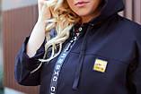 Женский стильный кардиган пальто с капюшоном джинс коттон размер батал: 52-54,56-58,60-62,64-66, фото 6