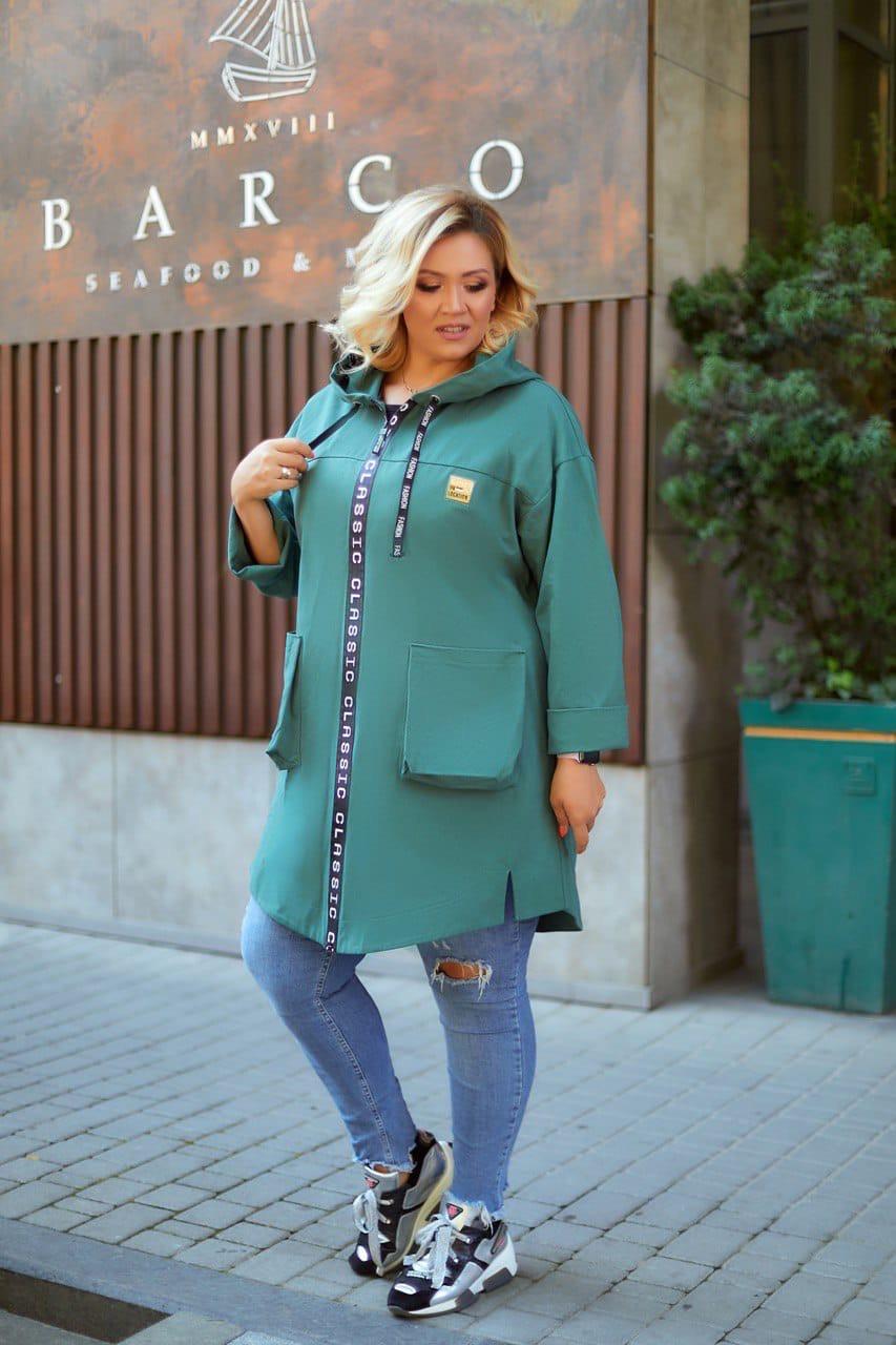 Женский стильный кардиган пальто с капюшоном джинс коттон размер батал: 52-54,56-58,60-62,64-66