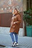 Женский стильный кардиган пальто с капюшоном джинс коттон размер батал: 52-54,56-58,60-62,64-66, фото 7