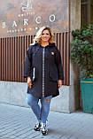 Женский стильный кардиган пальто с капюшоном джинс коттон размер батал: 52-54,56-58,60-62,64-66, фото 8
