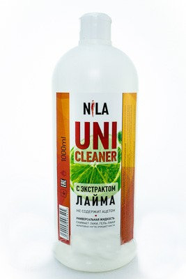"Жидкость для снятия гель лака ""Лайм"" Nila Uni-Cleaner 1000 мл."