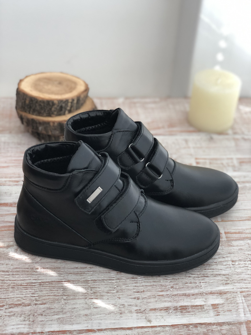 Кожаные ботинки на мальчика 7019 ч/к размеры 32-39
