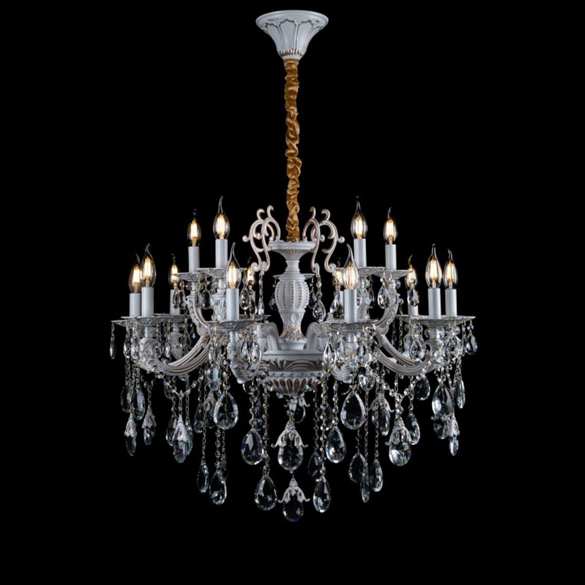 Классическая люстра-свеча на 15 лампочек СветМира золотая патина VL-L41421/10+5 (WT+GD)