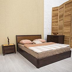 Ліжко дерев'яне двоспальне Сіті з підйомним механізмом