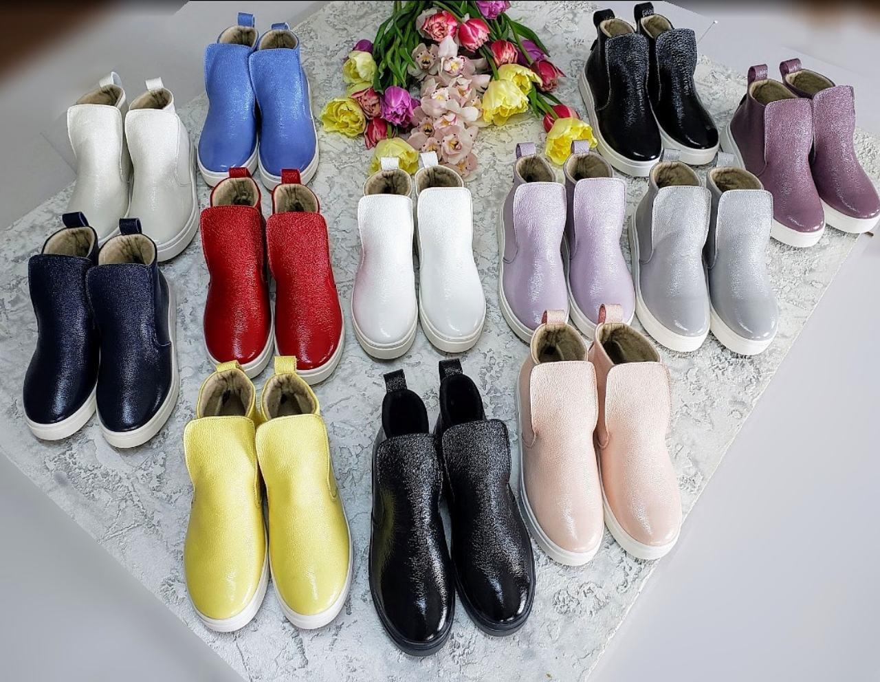 Женские лаковые ботинки хайтопы демисезонные